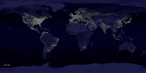 Earth Light Pollution from Space